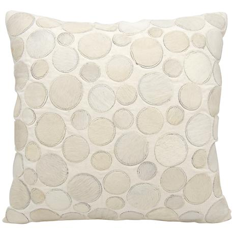 "Nourison Circle Natural Leather 20"" Square White Pillow"