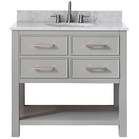 Avanity Brooks White Marble-Top Gray Single-Sink Vanity