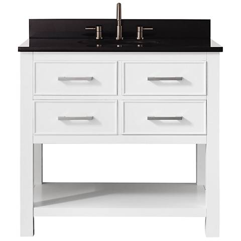 Avanity Brooks Black Granite-Top White Single-Sink Vanity