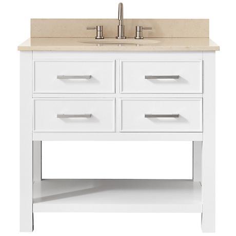 Avanity Brooks Beige Marble-Top White Single-Sink Vanity