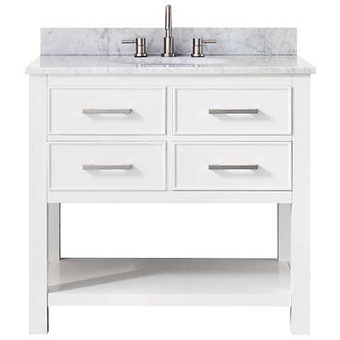 Avanity Brooks White Marble-Top White Single-Sink Vanity