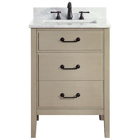 """Avanity Delano Taupe 25"""" Carrara-Top Single Sink Vanity"""