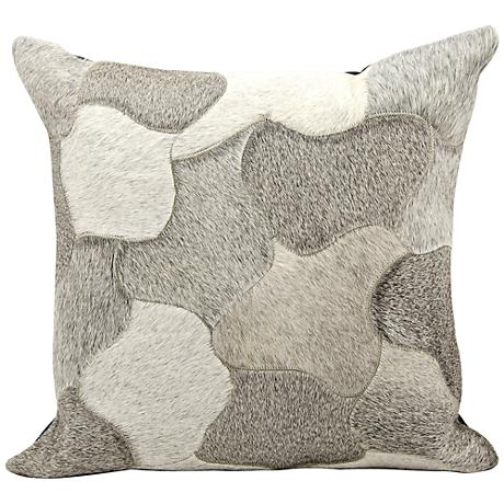 "Nourison Jigsaw Puzzle Leather 20"" Square Silver Pillow"