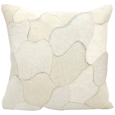 "Nourison Jigsaw Puzzle Leather 20"" Square White Pillow"