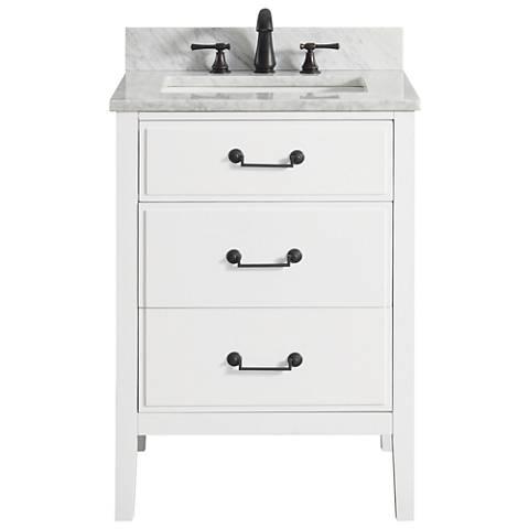 "Avanity Delano White 25"" Carrara-Top Single Sink Vanity"