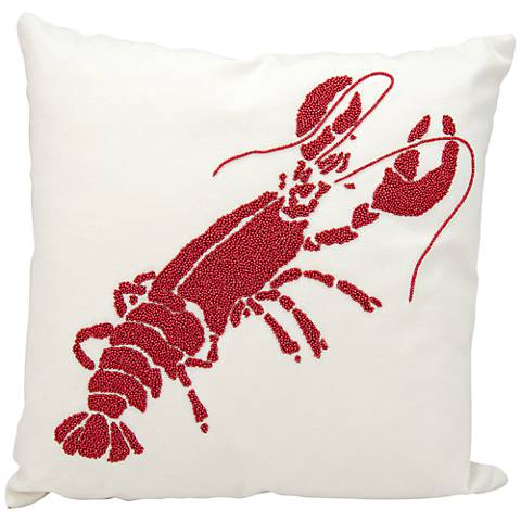 "Nourison Beaded Red Lobster 18"" Square Outdoor Pillow"