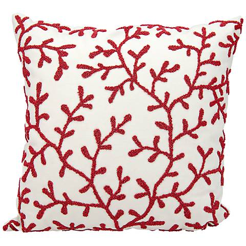 "Nourison Beaded Seaweed 18"" Square Outdoor Pillow"
