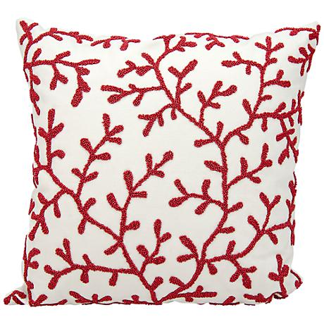 """Nourison Beaded Seaweed 18"""" Square Outdoor Pillow"""