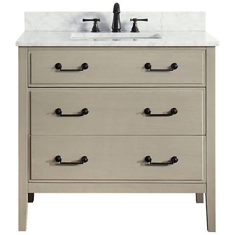 """Avanity Delano Taupe 37"""" Carrara-Top Single Sink Vanity"""