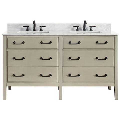 "Avanity Delano Taupe 61"" Carrara-Top Double Sink Vanity"