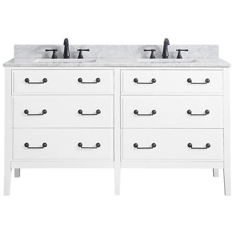 "Avanity Delano White 61"" Carrara-Top Double Sink Vanity"
