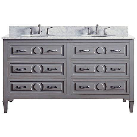 Avanity Kelly Marble-Top Grayish Blue Double-Sink Vanity