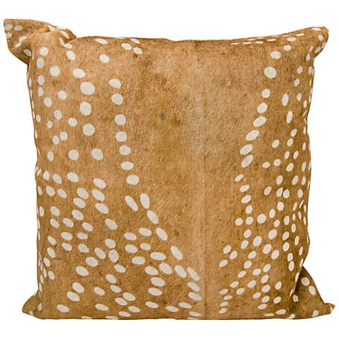 "Nourison Axis Deer Print Natural Leather 20"" Square Pillow"