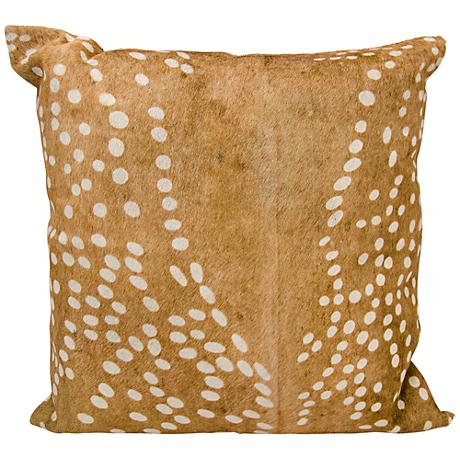 """Nourison Axis Deer Print Natural Leather 20"""" Square Pillow"""