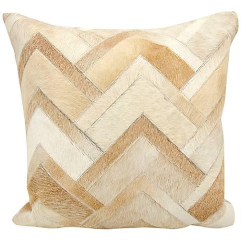 """Nourison Arrowhead Chevron Hide 20"""" Square Beige Pillow"""