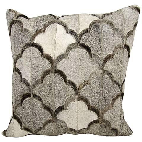 """Nourison Cloud Natural Hide 20"""" Square Gray Pillow"""