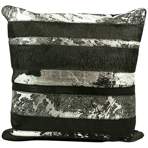 "Nourison Mix Stripes 20"" Square Black Pillow"