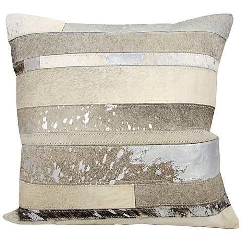 "Nourison Mix Stripes 20"" Square Silver Gray Pillow"