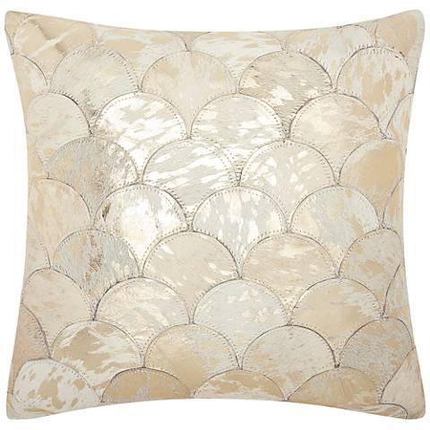 """Nourison Metallic Balloons 20"""" Square White Gold Pillow"""