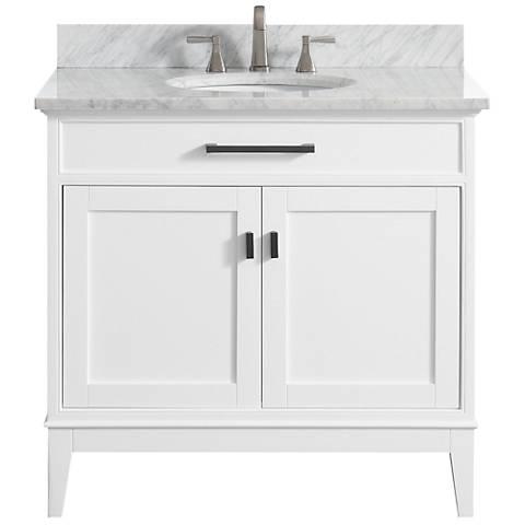 """Avanity Madison 37"""" Marble-Top White Single Sink Vanity"""