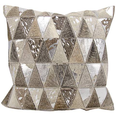 "Nourison Triangles Leather 20"" Square Silver Gray Pillow"