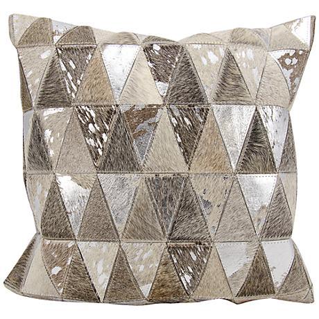 "Nourison Triangles Leather 20"" Square Silver Gray Pillow"