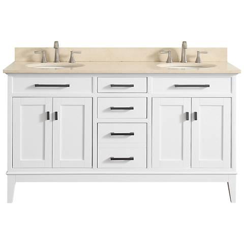 "Avanity Madison 61"" Galala-Top White Double Sink Vanity"