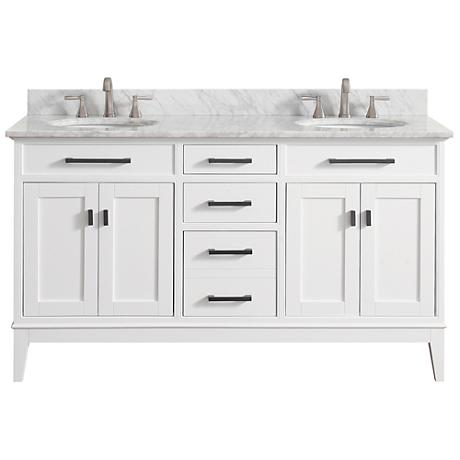 "Avanity Madison 61"" Marble-Top White Double Sink Vanity"