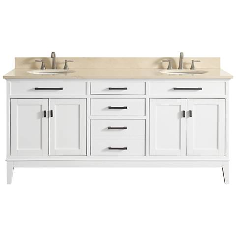 "Avanity Madison 73"" Galala-Top White Double Sink Vanity"