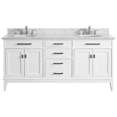 "Avanity Madison 73"" Marble-Top White Double Sink Vanity"