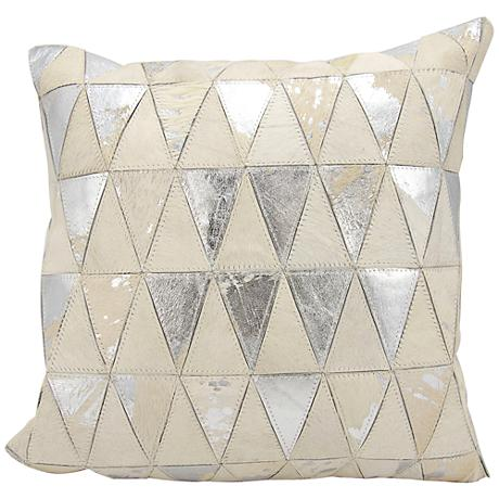 "Nourison Triangles Leather 20"" Square White Silver Pillow"