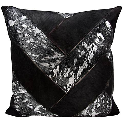 "Nourison Jersey Design 20"" Square Black Silver Pillow"