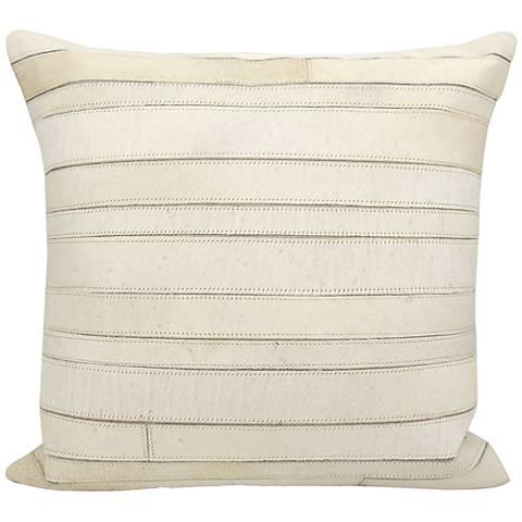 "Nourison Natural Hide Stripes 20"" Square Ivory Pillow"