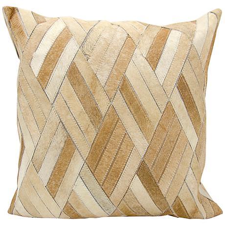"""Nourison Basket Weave Leather 20"""" Square Beige Pillow"""