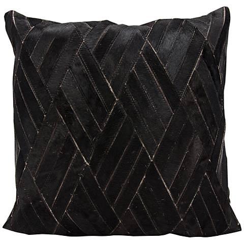 """Nourison Basket Weave Leather 20"""" Square Black Pillow"""