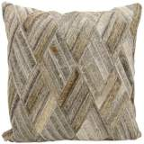 "Nourison Basket Weave Leather 20"" Square Gray Pillow"