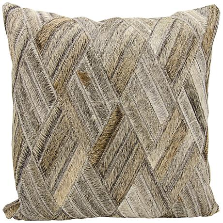 "Nourison Basket Weave Leather 20"" Square Gray Pillow"