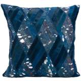 "Nourison Basket Weave Leather 20"" Square Navy Blue Pillow"