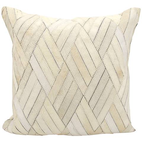 "Nourison Basket Weave Leather 20"" Square White Pillow"