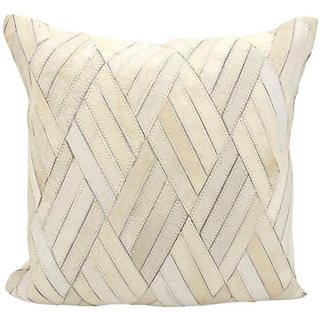 "Nourison Basket Weave Leather 20"" Square White Pillow"