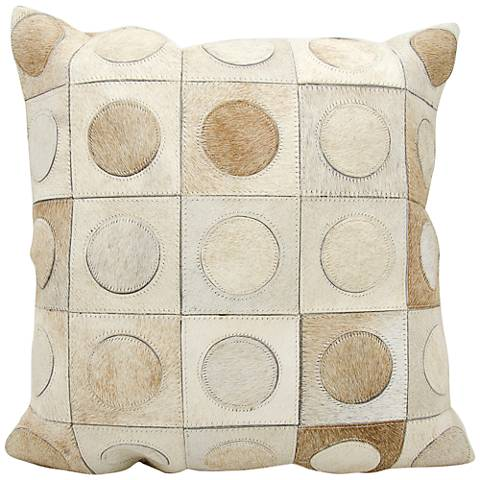 """Nourison Circles in Squares 20"""" Wide Beige Pillow"""