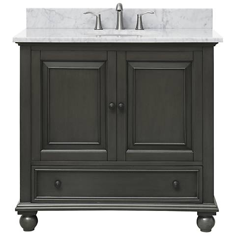 "Avanity Thompson Charcoal 37"" Marble Single Sink Vanity"