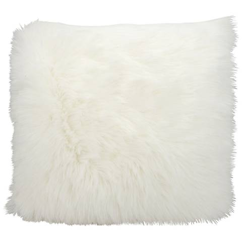 """Nourison Remen Poly Faux Fur 22"""" Square White Pillow"""