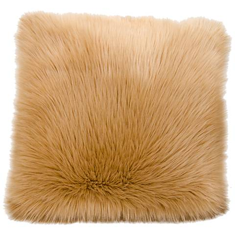 """Nourison Remen Poly Faux Fur 22"""" Square Beige Pillow"""