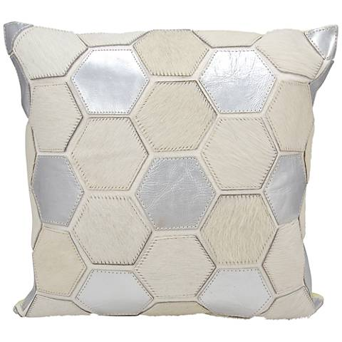 "Nourison Hexagon 20"" Square White Silver Throw Pillow"