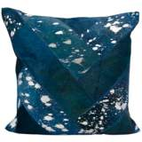 "Nourison Jersey Design 20"" Square Navy and Silver Pillow"