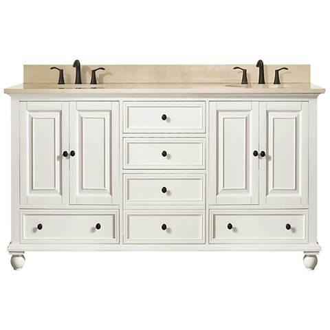 "Avanity Thompson White 61"" Galala-Top Double Sink Vanity"