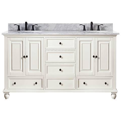 "Avanity Thompson White 61"" Marble-Top Double Sink Vanity"