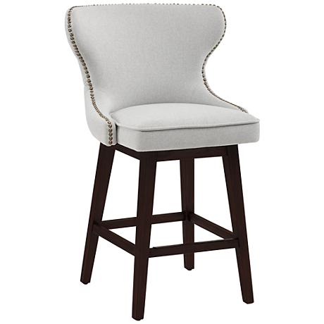 "Ariana Light Gray Fabric 25 1/2"" Swivel Counter Stool"