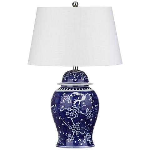 Cartmel Reverse Painted Blue and White Ceramic Table Lamp